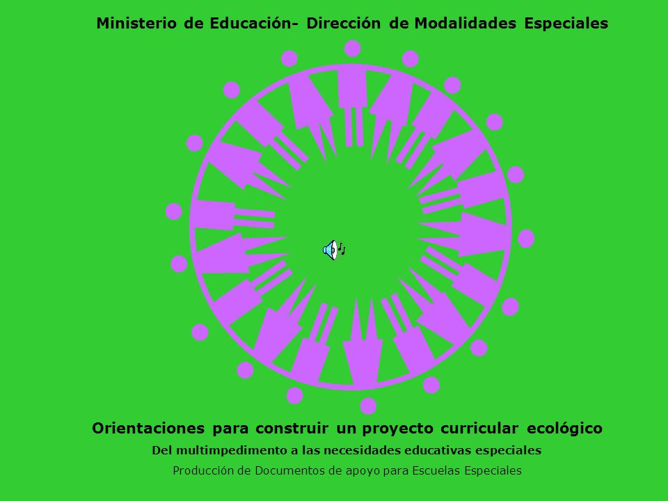 Orientaciones para construir un proyecto curricular ecológico Del multimpedimento a las necesidades educativas especiales Producción de Documentos de apoyo para Escuelas Especiales Ministerio de Educación- Dirección de Modalidades Especiales