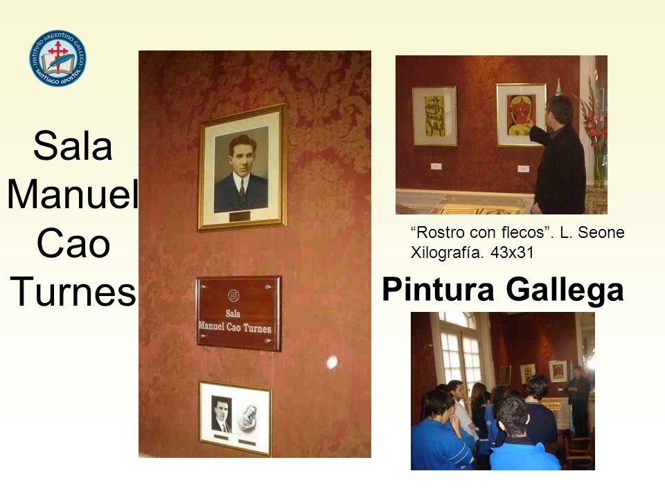 Sala Manuel Cao Turnes Pintura Gallega Rostro con flecos. L. Seone Xilografía. 43x31