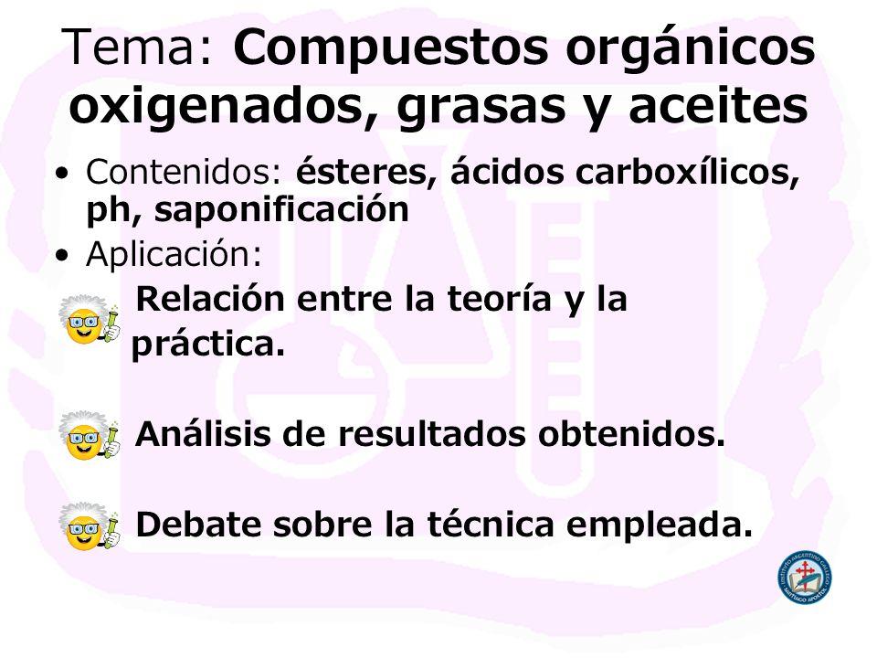 Tema: Compuestos orgánicos oxigenados, grasas y aceites Contenidos: ésteres, ácidos carboxílicos, ph, saponificación Aplicación: Relación entre la teo