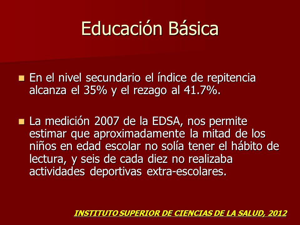 Educación Básica En el nivel secundario el índice de repitencia alcanza el 35% y el rezago al 41.7%. En el nivel secundario el índice de repitencia al
