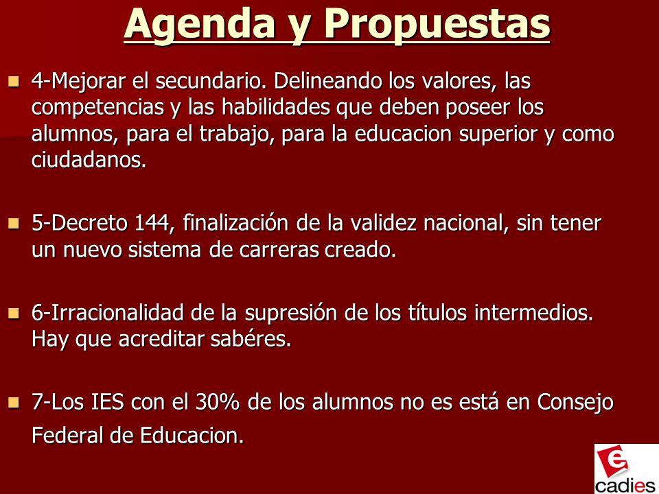 Agenda y Propuestas 4-Mejorar el secundario. Delineando los valores, las competencias y las habilidades que deben poseer los alumnos, para el trabajo,