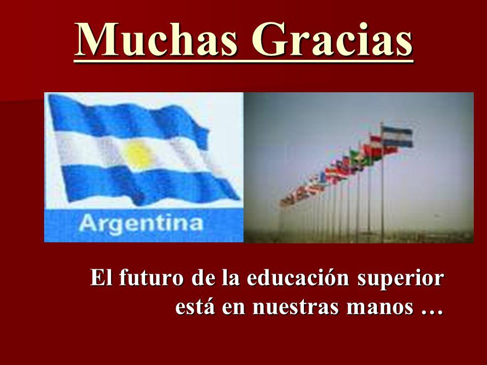 Muchas Gracias El futuro de la educación superior está en nuestras manos …