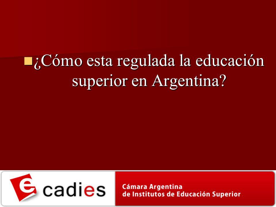 ¿Cómo esta regulada la educación superior en Argentina? ¿Cómo esta regulada la educación superior en Argentina?