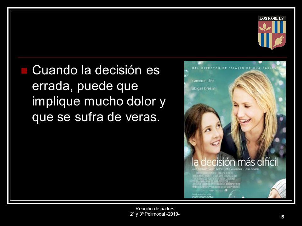Reunión de padres 2º y 3º Polimodal -2010- 15 Cuando la decisión es errada, puede que implique mucho dolor y que se sufra de veras.