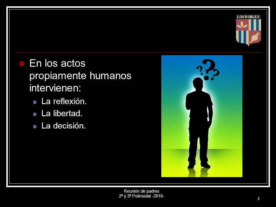 Reunión de padres 2º y 3º Polimodal -2010- 2 En los actos propiamente humanos intervienen: La reflexión. La libertad. La decisión.