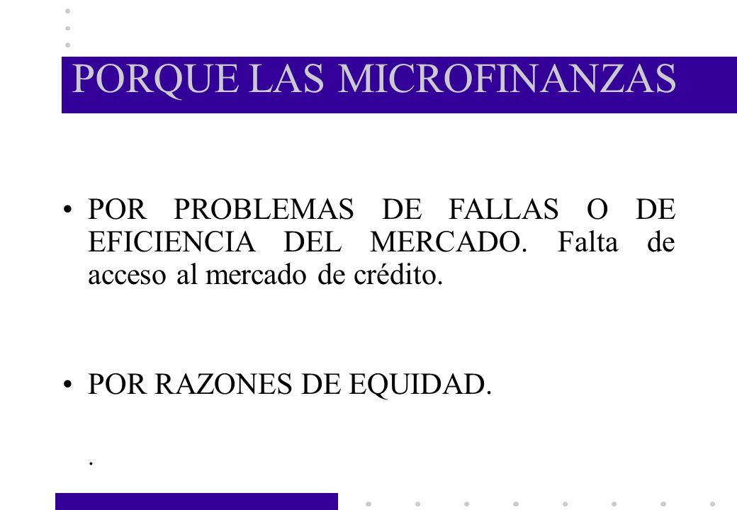PORQUE LAS MICROFINANZAS POR PROBLEMAS DE FALLAS O DE EFICIENCIA DEL MERCADO. Falta de acceso al mercado de crédito. POR RAZONES DE EQUIDAD..