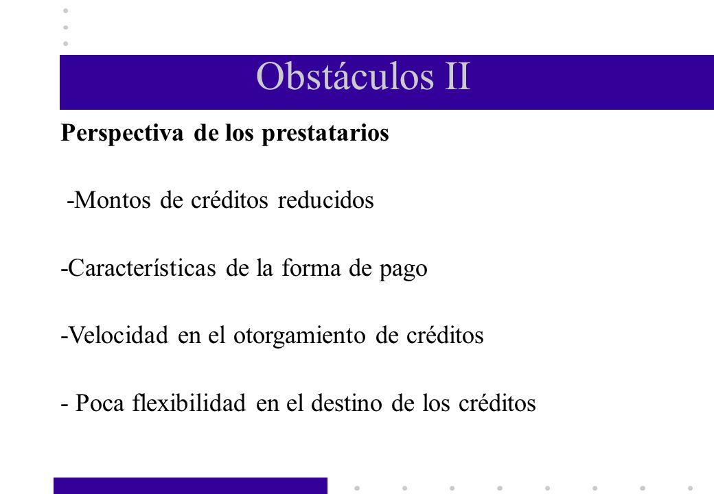 Obstáculos II Perspectiva de los prestatarios -Montos de créditos reducidos -Características de la forma de pago -Velocidad en el otorgamiento de créd