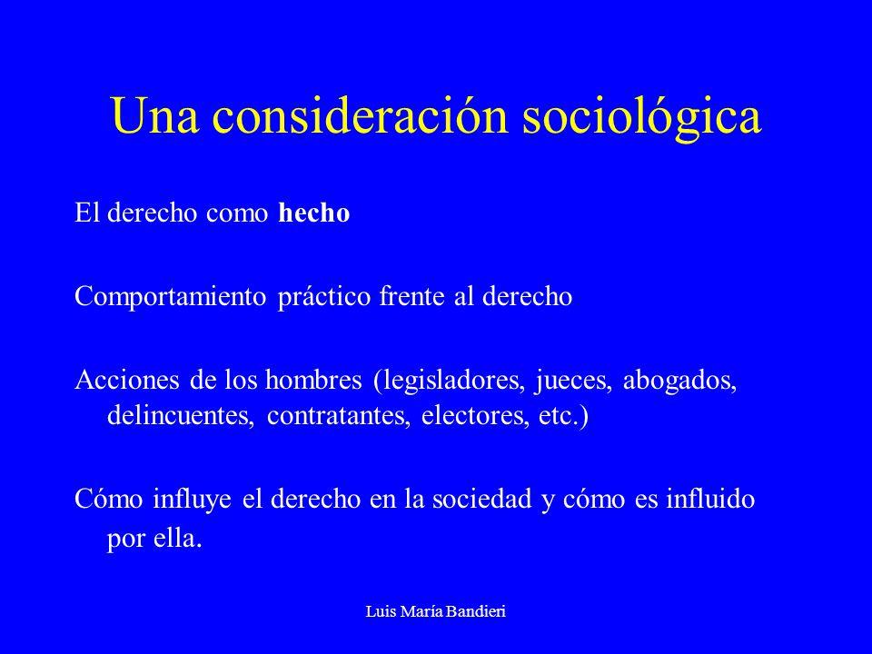 Luis María Bandieri Una consideración sociológica El derecho como hecho Comportamiento práctico frente al derecho Acciones de los hombres (legisladores, jueces, abogados, delincuentes, contratantes, electores, etc.) Cómo influye el derecho en la sociedad y cómo es influido por ella.