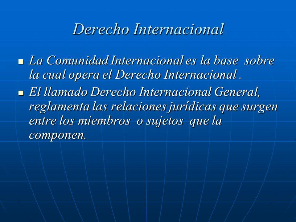 Derecho Internacional La Comunidad Internacional es la base sobre la cual opera el Derecho Internacional. La Comunidad Internacional es la base sobre
