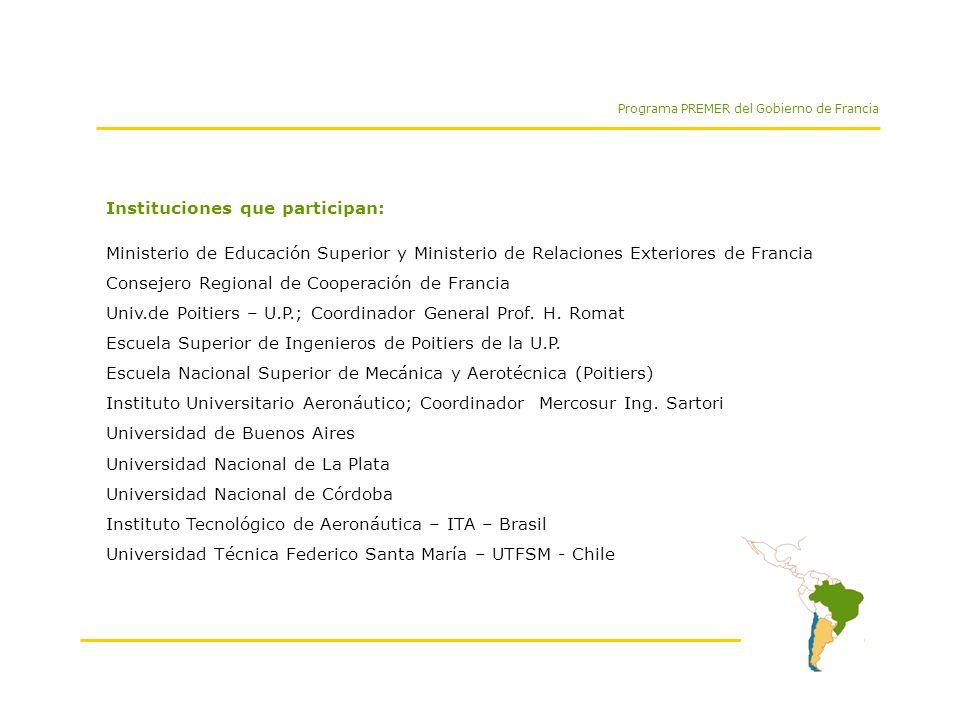 Programa PREMER del Gobierno de Francia Postgrado Franco - Sudamericano en Mecánica y Energética de los Fluidos Metodología Curso: 15 a 20 hs.