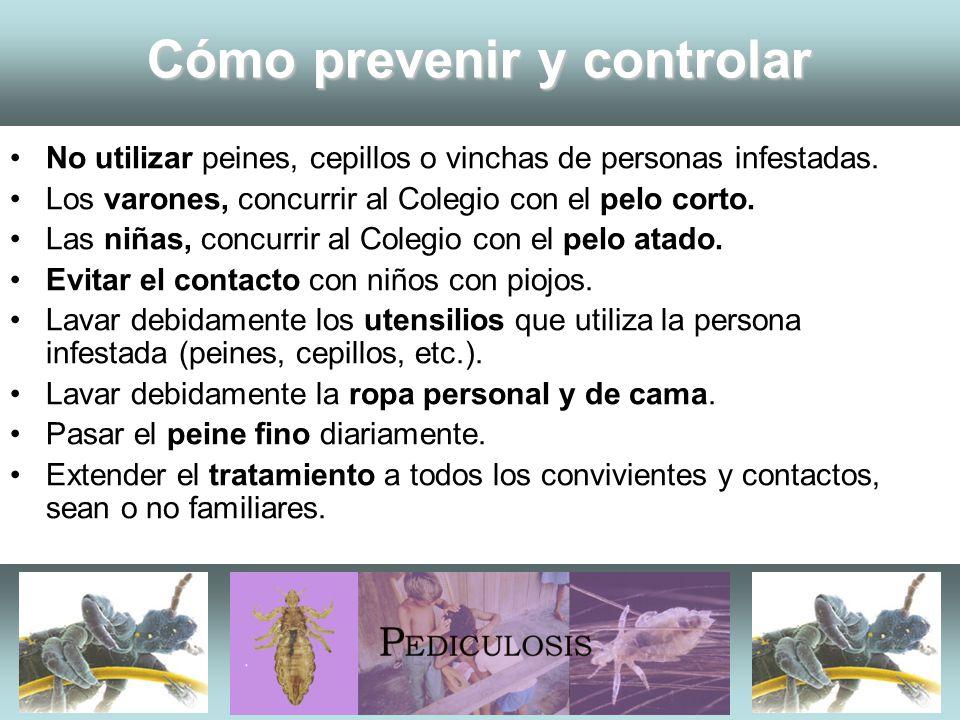 Cómo prevenir y controlar No utilizar peines, cepillos o vinchas de personas infestadas. Los varones, concurrir al Colegio con el pelo corto. Las niña