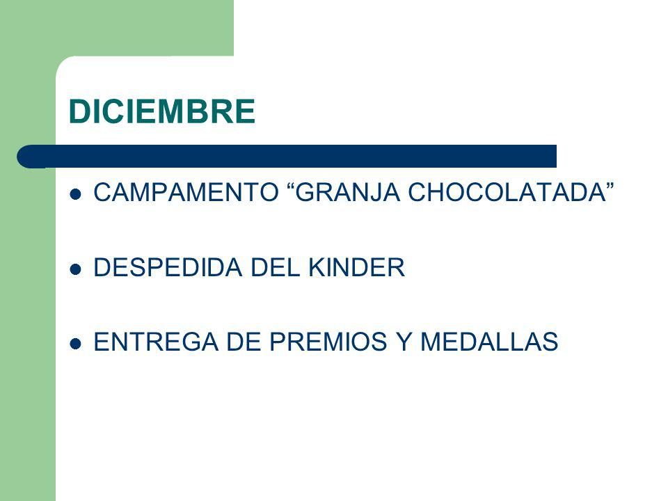DICIEMBRE CAMPAMENTO GRANJA CHOCOLATADA DESPEDIDA DEL KINDER ENTREGA DE PREMIOS Y MEDALLAS