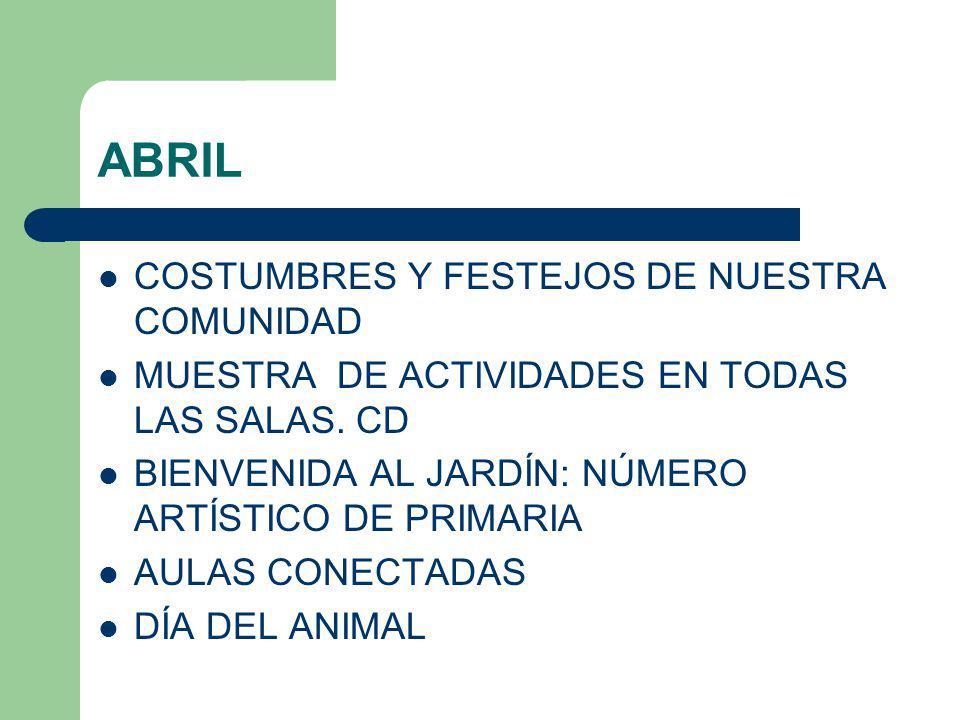 ABRIL COSTUMBRES Y FESTEJOS DE NUESTRA COMUNIDAD MUESTRA DE ACTIVIDADES EN TODAS LAS SALAS. CD BIENVENIDA AL JARDÍN: NÚMERO ARTÍSTICO DE PRIMARIA AULA