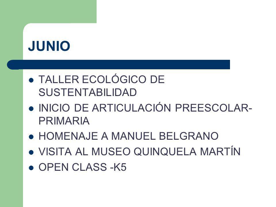 JUNIO TALLER ECOLÓGICO DE SUSTENTABILIDAD INICIO DE ARTICULACIÓN PREESCOLAR- PRIMARIA HOMENAJE A MANUEL BELGRANO VISITA AL MUSEO QUINQUELA MARTÍN OPEN