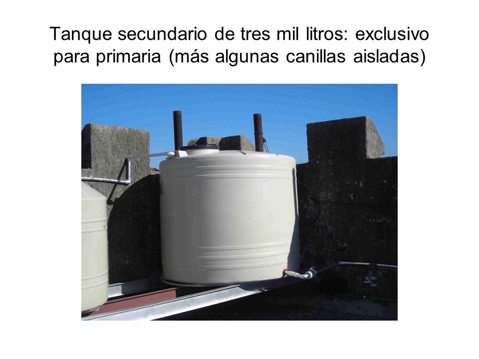 Tanque secundario de tres mil litros: exclusivo para primaria (más algunas canillas aisladas)