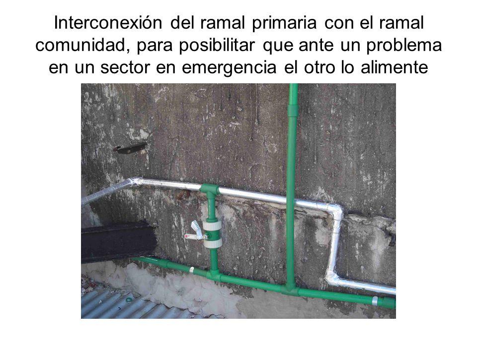 Interconexión del ramal primaria con el ramal comunidad, para posibilitar que ante un problema en un sector en emergencia el otro lo alimente