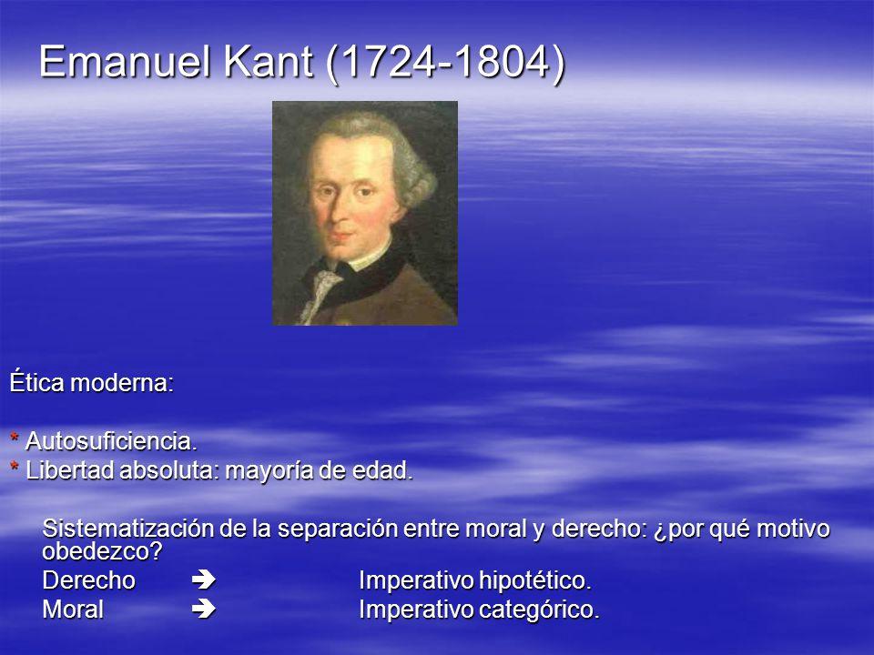 Emanuel Kant (1724-1804) Ética moderna: * Autosuficiencia. * Libertad absoluta: mayoría de edad. Sistematización de la separación entre moral y derech