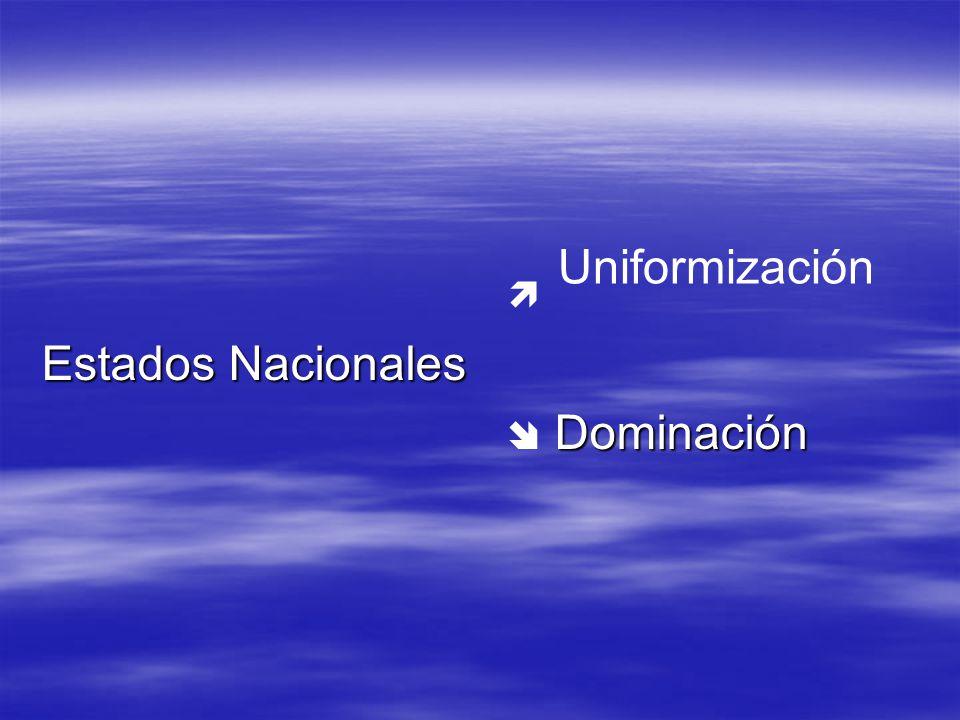 Estados Nacionales Dominación Dominación Uniformización