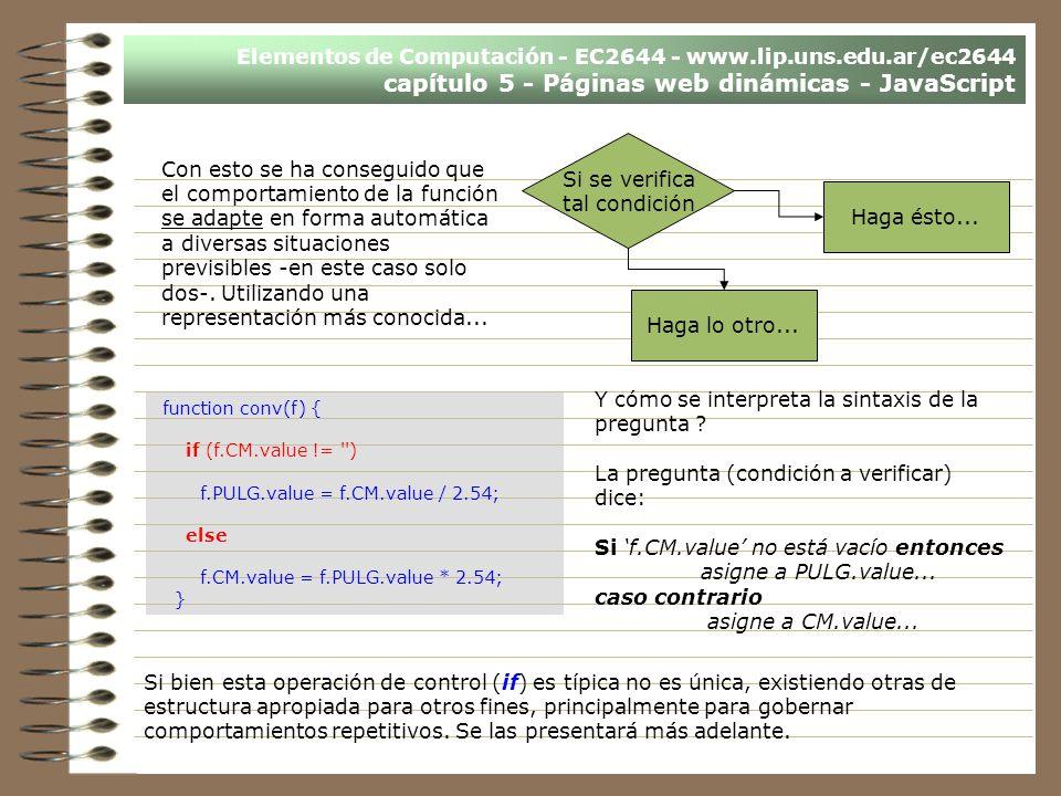 Elementos de Computación - EC2644 - www.lip.uns.edu.ar/ec2644 capítulo 5 - Páginas web dinámicas - JavaScript Con esto se ha conseguido que el comport