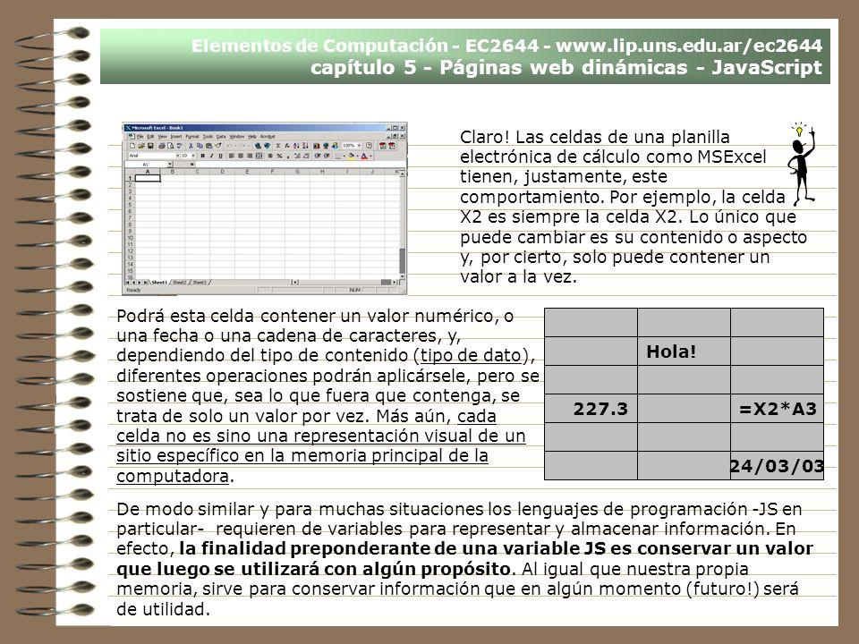 Elementos de Computación - EC2644 - www.lip.uns.edu.ar/ec2644 capítulo 5 - Páginas web dinámicas - JavaScript De modo similar y para muchas situacione