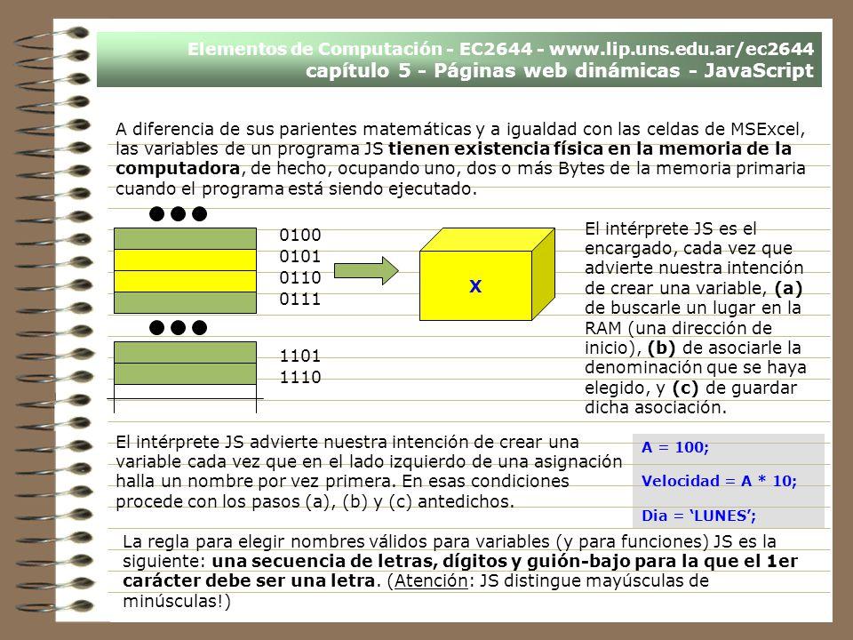 Elementos de Computación - EC2644 - www.lip.uns.edu.ar/ec2644 capítulo 5 - Páginas web dinámicas - JavaScript 0100 0101 0110 0111 1101 1110 X A difere