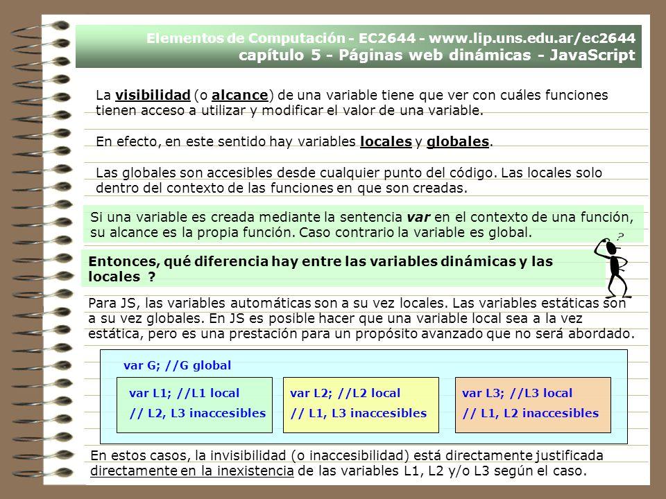Elementos de Computación - EC2644 - www.lip.uns.edu.ar/ec2644 capítulo 5 - Páginas web dinámicas - JavaScript La visibilidad (o alcance) de una variab