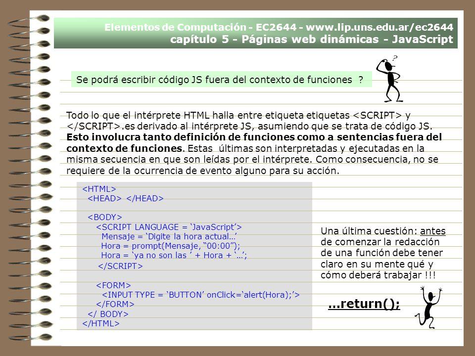 Elementos de Computación - EC2644 - www.lip.uns.edu.ar/ec2644 capítulo 5 - Páginas web dinámicas - JavaScript Se podrá escribir código JS fuera del co