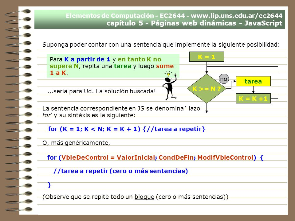 Elementos de Computación - EC2644 - www.lip.uns.edu.ar/ec2644 capítulo 5 - Páginas web dinámicas - JavaScript Suponga poder contar con una sentencia q