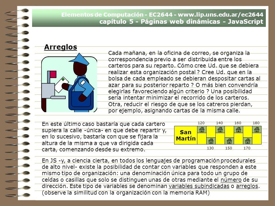 Elementos de Computación - EC2644 - www.lip.uns.edu.ar/ec2644 capítulo 5 - Páginas web dinámicas - JavaScript Arreglos Cada mañana, en la oficina de c