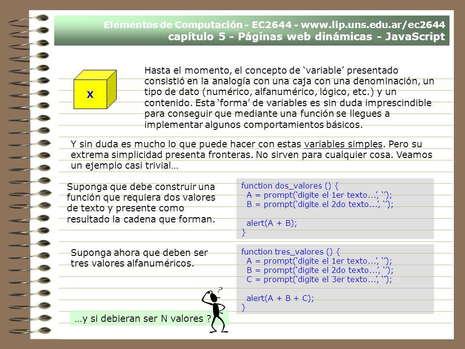 Elementos de Computación - EC2644 - www.lip.uns.edu.ar/ec2644 capítulo 5 - Páginas web dinámicas - JavaScript Hasta el momento, el concepto de variabl