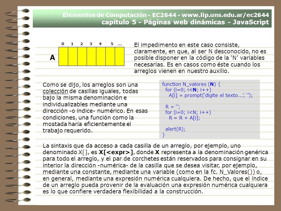 Elementos de Computación - EC2644 - www.lip.uns.edu.ar/ec2644 capítulo 5 - Páginas web dinámicas - JavaScript El impedimento en este caso consiste, cl