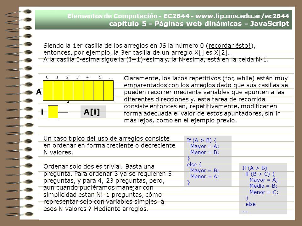 Elementos de Computación - EC2644 - www.lip.uns.edu.ar/ec2644 capítulo 5 - Páginas web dinámicas - JavaScript Claramente, los lazos repetitivos (for,