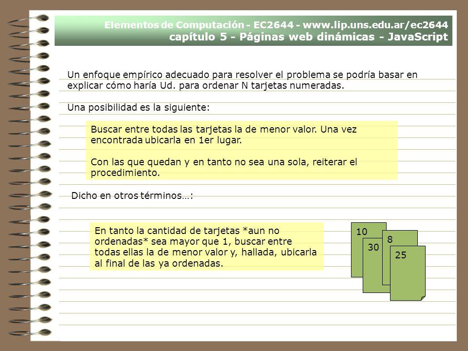 Elementos de Computación - EC2644 - www.lip.uns.edu.ar/ec2644 capítulo 5 - Páginas web dinámicas - JavaScript Un enfoque empírico adecuado para resolv