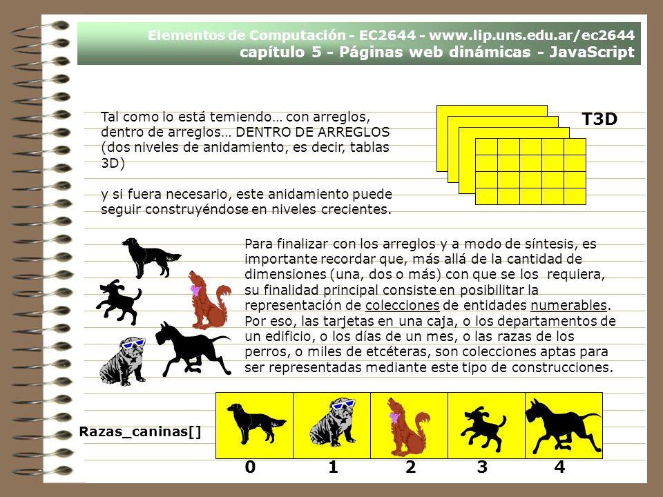 Elementos de Computación - EC2644 - www.lip.uns.edu.ar/ec2644 capítulo 5 - Páginas web dinámicas - JavaScript Tal como lo está temiendo… con arreglos,