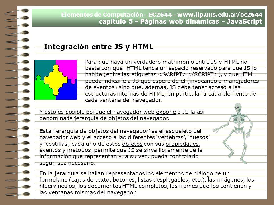 Elementos de Computación - EC2644 - www.lip.uns.edu.ar/ec2644 capítulo 5 - Páginas web dinámicas - JavaScript Integración entre JS y HTML Para que hay