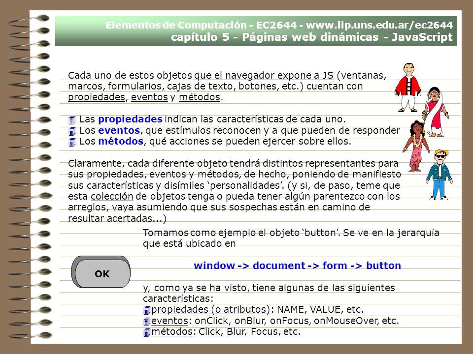 Elementos de Computación - EC2644 - www.lip.uns.edu.ar/ec2644 capítulo 5 - Páginas web dinámicas - JavaScript Cada uno de estos objetos que el navegad