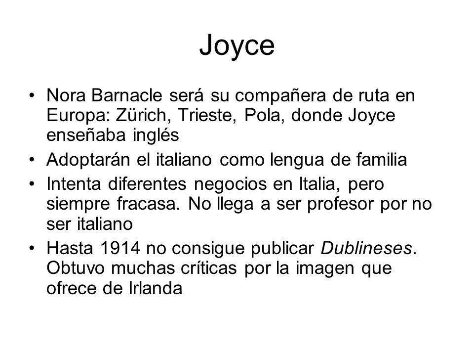 Joyce Nora Barnacle será su compañera de ruta en Europa: Zürich, Trieste, Pola, donde Joyce enseñaba inglés Adoptarán el italiano como lengua de famil