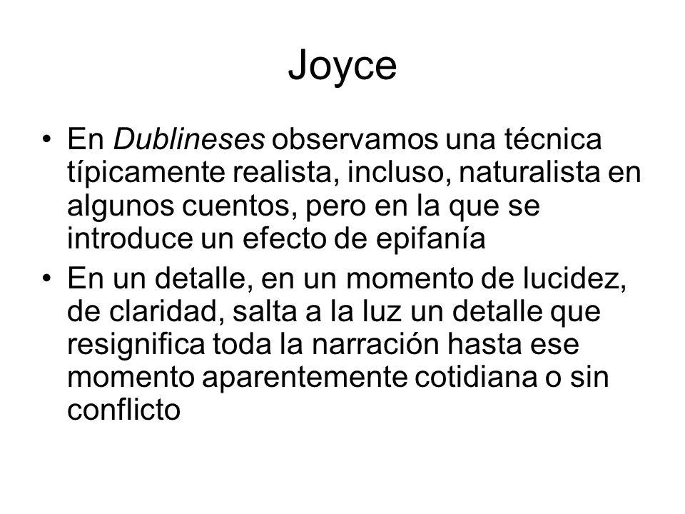 Joyce En Dublineses observamos una técnica típicamente realista, incluso, naturalista en algunos cuentos, pero en la que se introduce un efecto de epi