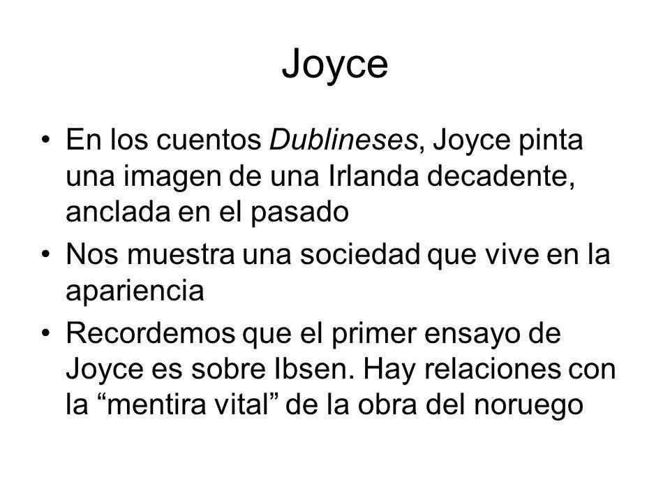 Joyce En los cuentos Dublineses, Joyce pinta una imagen de una Irlanda decadente, anclada en el pasado Nos muestra una sociedad que vive en la aparien