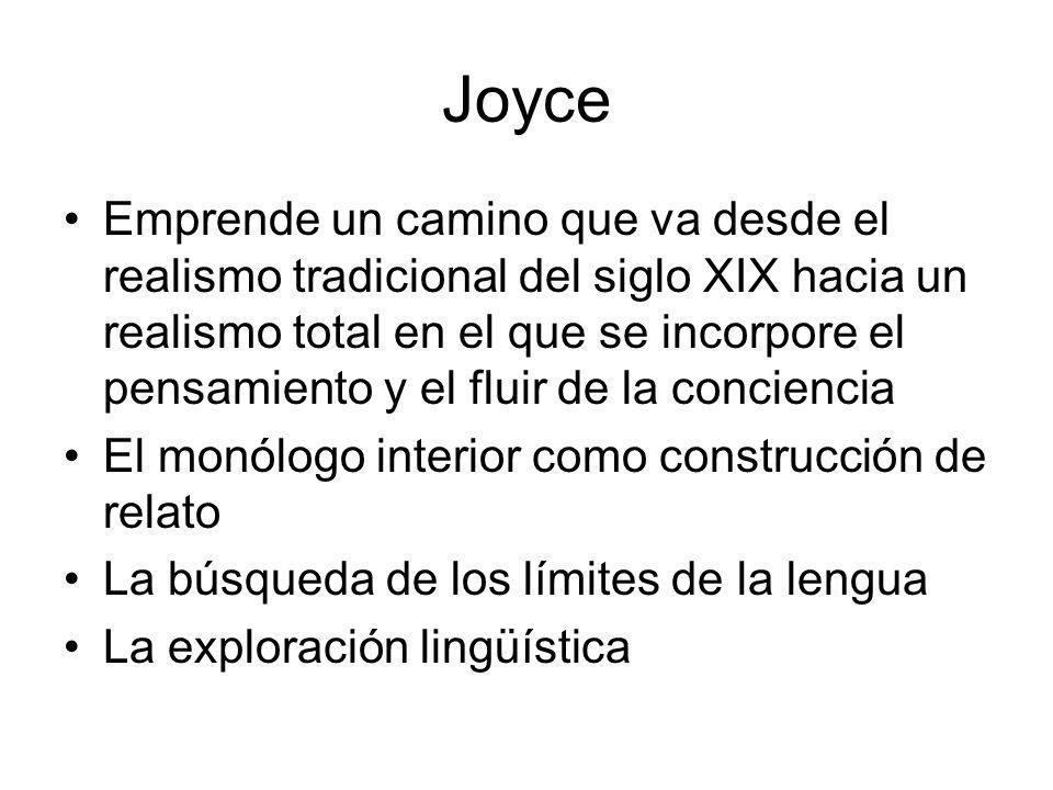 Joyce Emprende un camino que va desde el realismo tradicional del siglo XIX hacia un realismo total en el que se incorpore el pensamiento y el fluir d