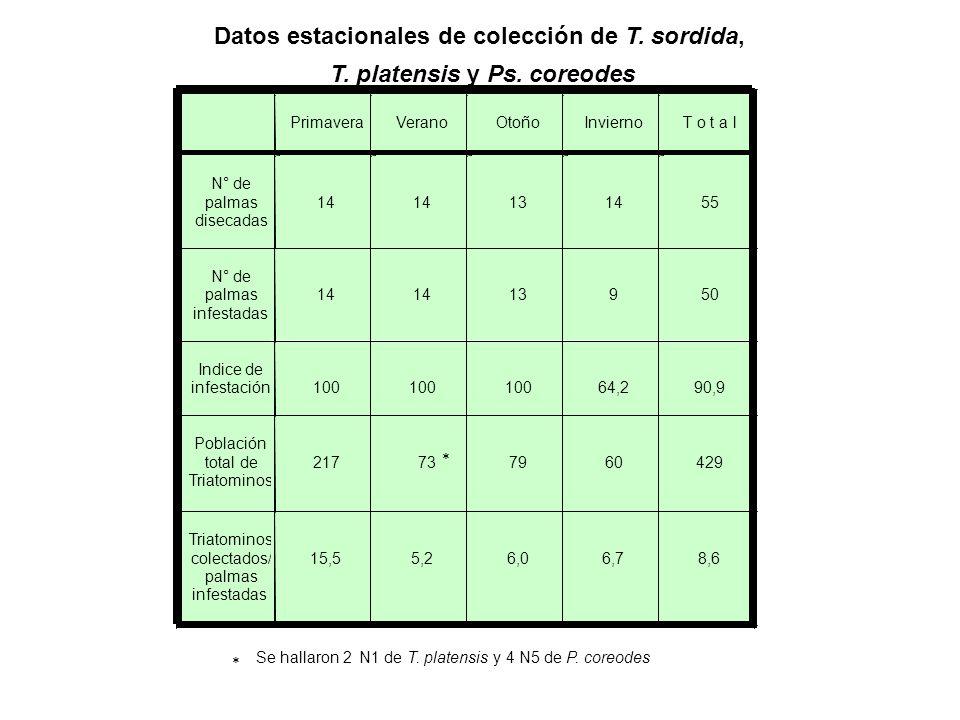 18 46 60 96 100 86 12 5 0 10 20 30 40 50 60 70 80 90 100 N° de ejemplares HN1N2N3N4N5MachHemb Clase de edad N=423 Composición de la población de Triatoma sordida colectada en Butia yatay y en Acrocomia aculeata