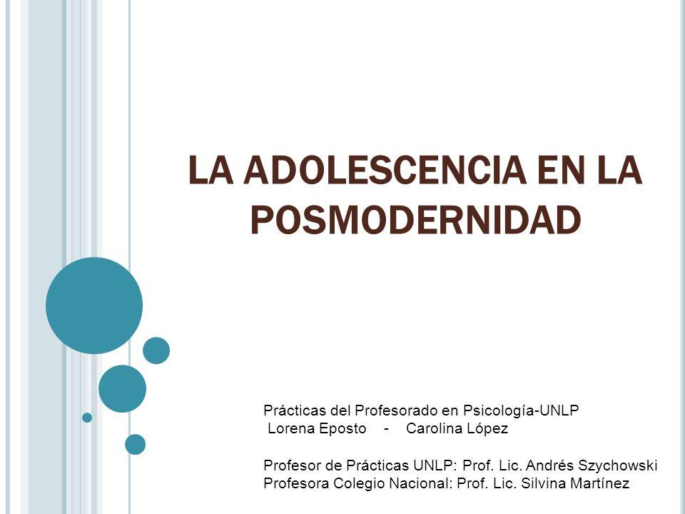 LA ADOLESCENCIA EN LA POSMODERNIDAD Prácticas del Profesorado en Psicología-UNLP Lorena Eposto - Carolina López Profesor de Prácticas UNLP: Prof. Lic.