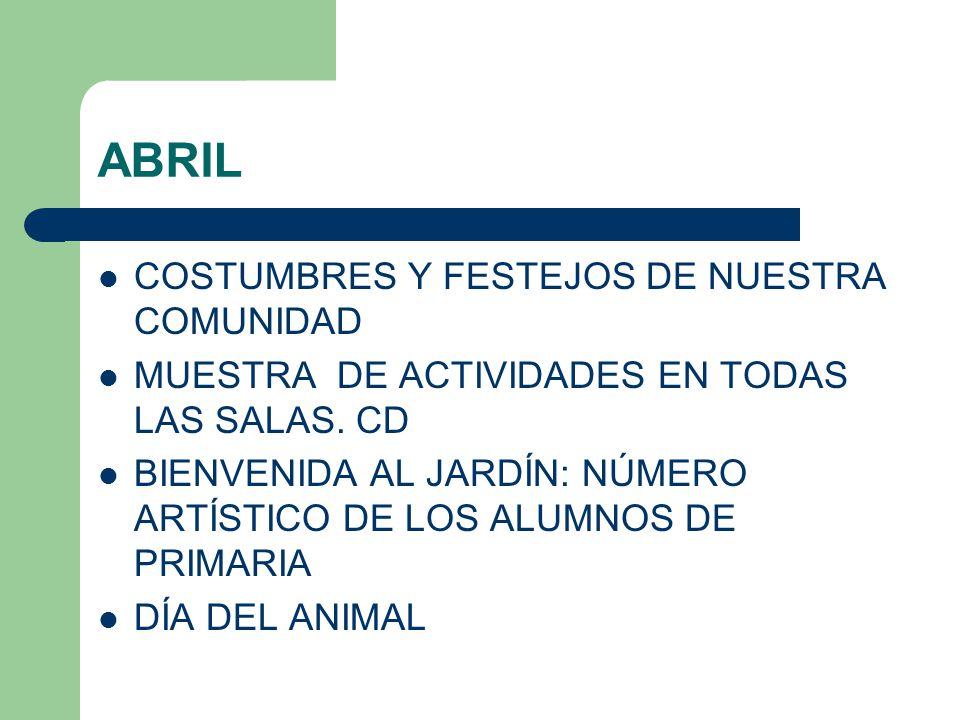 ABRIL COSTUMBRES Y FESTEJOS DE NUESTRA COMUNIDAD MUESTRA DE ACTIVIDADES EN TODAS LAS SALAS.