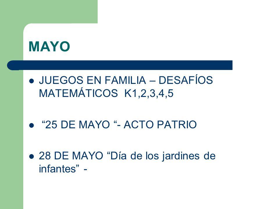 MAYO JUEGOS EN FAMILIA – DESAFÍOS MATEMÁTICOS K1,2,3,4,5 25 DE MAYO - ACTO PATRIO 28 DE MAYO Día de los jardines de infantes -