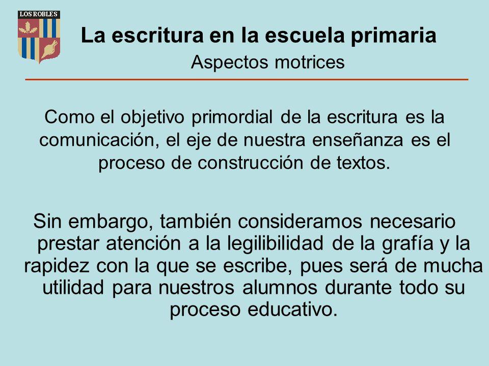 La escritura en la escuela primaria Aspectos motrices Como el objetivo primordial de la escritura es la comunicación, el eje de nuestra enseñanza es e