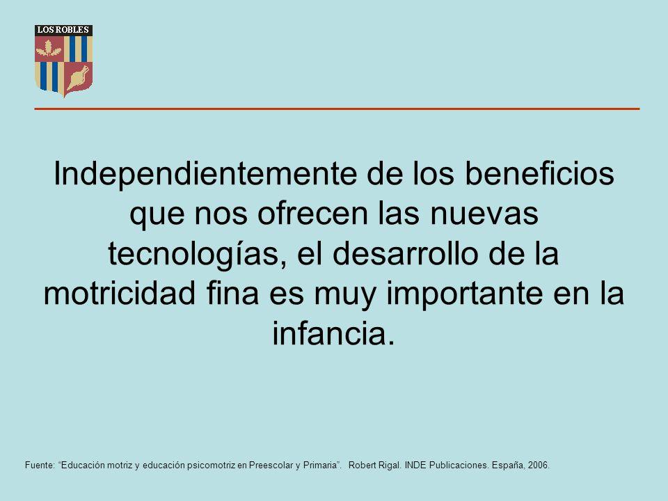 Independientemente de los beneficios que nos ofrecen las nuevas tecnologías, el desarrollo de la motricidad fina es muy importante en la infancia. Fue
