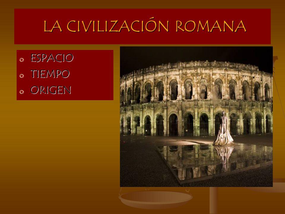 LA CIVILIZACIÓN ROMANA LA CIVILIZACIÓN ROMANA o ESPACIO o TIEMPO o ORIGEN