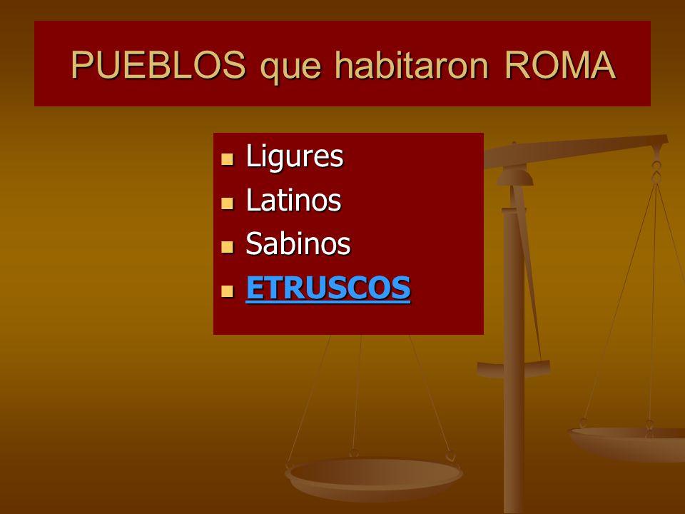 PUEBLOS que habitaron ROMA Ligures Ligures Latinos Latinos Sabinos Sabinos ETRUSCOS ETRUSCOS