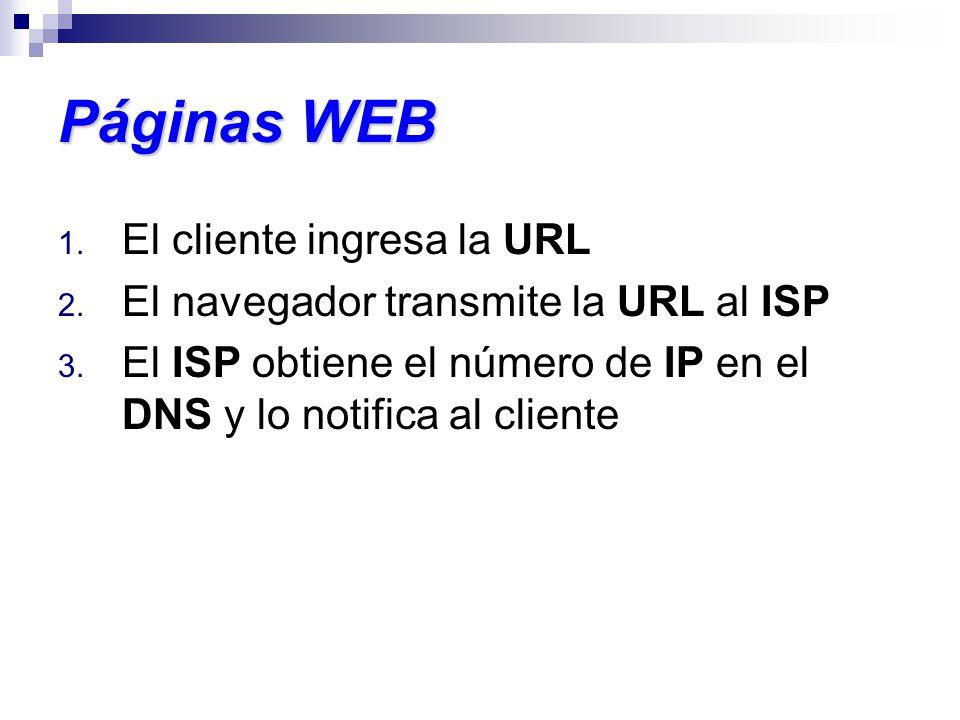 Páginas WEB 1. El cliente ingresa la URL 2. El navegador transmite la URL al ISP 3. El ISP obtiene el número de IP en el DNS y lo notifica al cliente