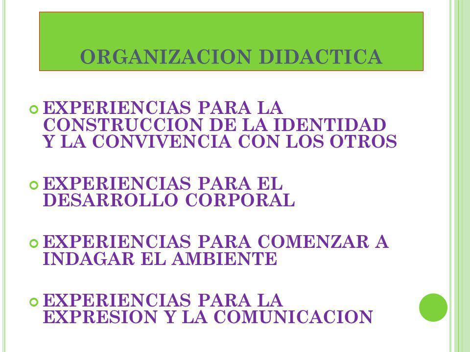 ORGANIZACION DIDACTICA EXPERIENCIAS PARA LA CONSTRUCCION DE LA IDENTIDAD Y LA CONVIVENCIA CON LOS OTROS EXPERIENCIAS PARA EL DESARROLLO CORPORAL EXPER